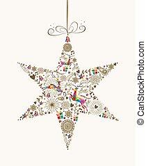 estrela, vindima, saudação, bauble, cartão natal