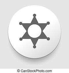 estrela, xerife, sinal, icon., polícia, button., símbolo.