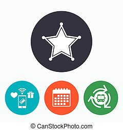 estrela, xerife, sinal, icon., polícia, button.