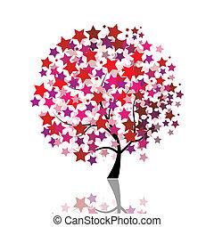 estrelado, árvore, fantasia