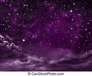 estrelado, abstratos, céu, fundo