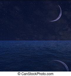 estrelado, céu noite, fundo