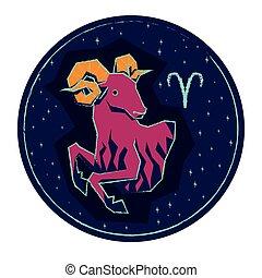 estrelado, céu noite, sinal, experiência., áries, signos