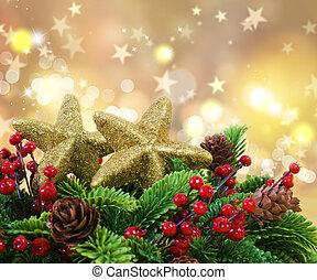 estrelado, fundo, ouro, decorações, natal