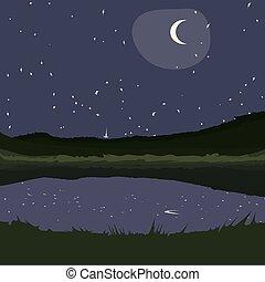 estrelado, landscape.eps, noturna, país
