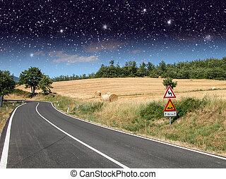 estrelado, noturna, acima, campo, estrada