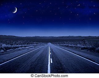 estrelado, noturna, estrada