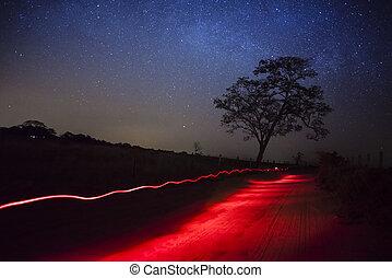 estrelado, noturna, ligado, estrada rural, -, américa sul