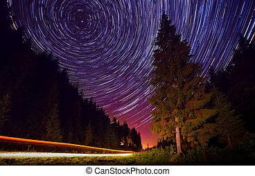 estrelado, noturna, ligado, um, estrada montanha