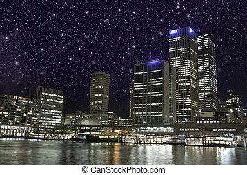 estrelado, noturna, sobre, brisbane, arranha-céus