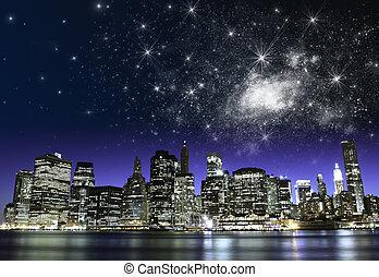 estrelado, noturna, sobre, cidade nova iorque, arranha-céus