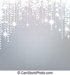 estrelado, prata, natal, experiência.