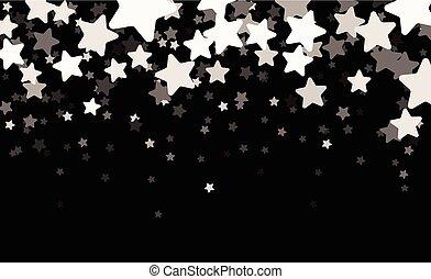 estrelado, pretas, banner.