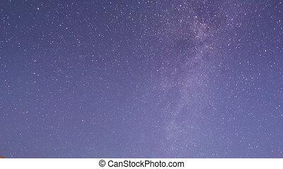 estrelado, sky., lapso tempo