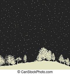 estrelado, sobre, céu, floresta, noturna