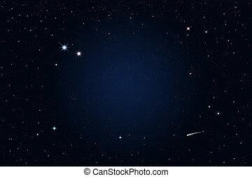 estrelado, tiroteio, noturna, estrela