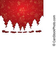estrelas, árvore, neve, fundo, branco vermelho