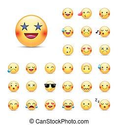 estrelas, amor, amarela, feliz, feliz, pack., emoji, grande, emoticons, set., outro, cantando, chorando, ninja, sorrisos, olhos, forma, cobrança, smileys, ícone, redondo, dormir, vetorial, face.