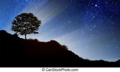 estrelas, atrás de, colina