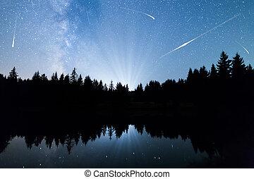 estrelas cadentes, lago, árvores pinho, silueta, meio leitoso