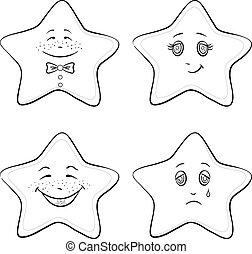 estrelas, contornos, smilies