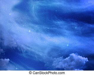 estrelas, e, céu noite, como, fundo