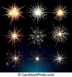 estrelas, e, flashes