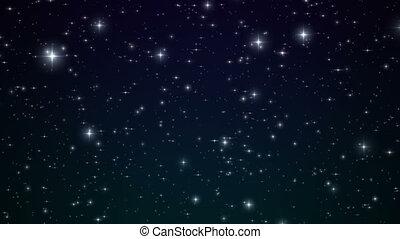 estrelas, em, a, azul, noturna, sky., looped, animation., bonito, noturna, com, twinkling, flares., 4k, ultra, hd, 3840x2160.