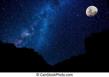 estrelas, em, a, céu noite, meio leitoso, galáxia