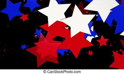 estrelas, em, vermelho, e, branca, cores