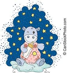 estrelas, ilustração, bebê, hipopótamo, segurando, noturna, ...