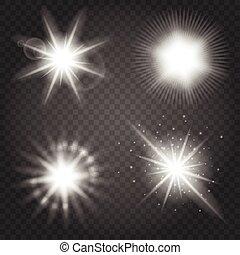 estrelas, jogo, ligado, transparente, fundo