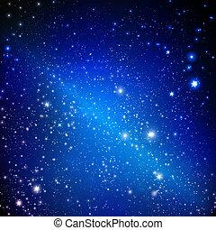estrelas, ligado, a, escuro