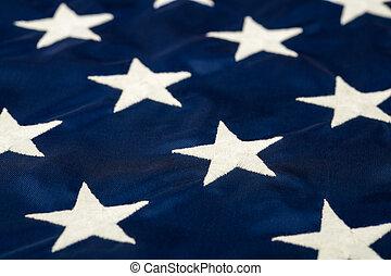 estrelas, ligado, bandeira americana, closeup