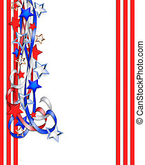 estrelas, patriótico, borda, listras