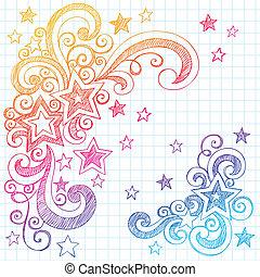 estrelas, sketchy, doodle, projete elemento