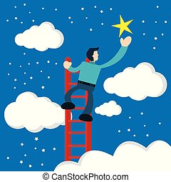 estrelas, usando, toques, homem negócios, escadas