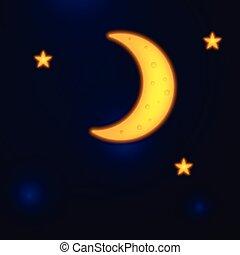 estrelas, vetorial, céu, noturna, lua