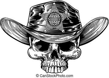 estrella, alguacil, cráneo, vaquero, insignia, sombrero