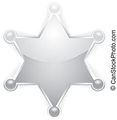 estrella, alguacil, vector, blanco, insignia, plata