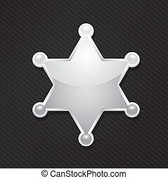 estrella, alguacil, vector, negro, insignia, plata