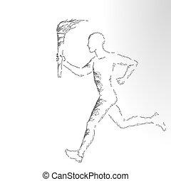 estrella, asimiento, blanco, 3d, gris, vector, bandera, poly., atleta, plano de fondo, ilustración, torchbearer, antorcha, bajo, corredor, hombre, neutral, moderno, corra, fuego, plantilla, monocromo, polygonal, deportista, render
