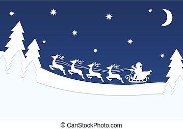 estrella azul, bandera, encima, vuelo, cielo, ilustración, reno, vector, bosque, santa, noche, navidad, acción