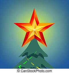 estrella azul, cielo, ilustración, vector., noche, navidad, brillar