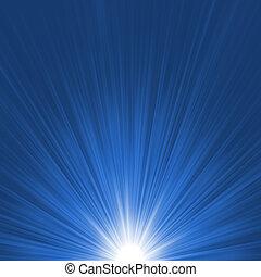 estrella azul, explosión, flare., eps, 8, blanco
