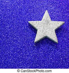 estrella azul, grande, brillante, plano de fondo, plata
