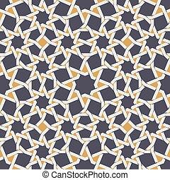 estrella azul, patrón, seamless, amarillo, islámico, vector...