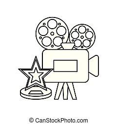 estrella, cámara, vídeo, cine