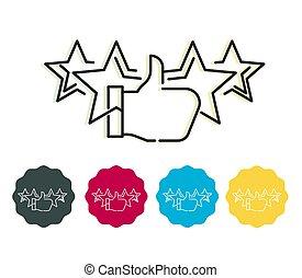 estrella, clasificación, ilustración, acción