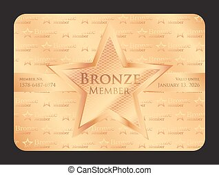 estrella, club, grande, miembro, bronce, tarjeta